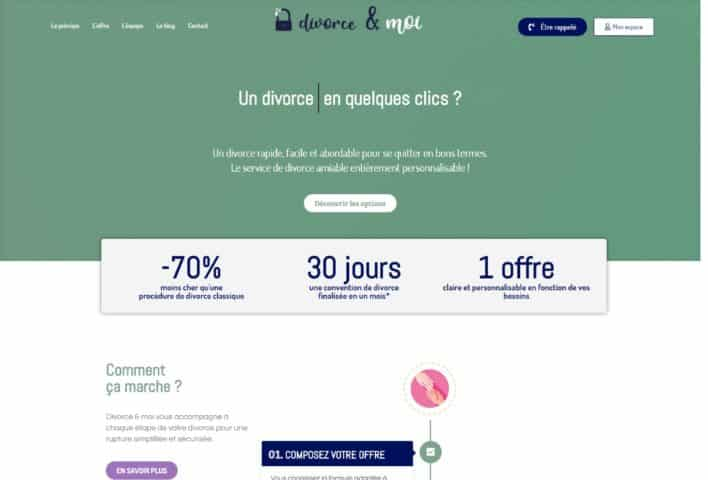 Plateforme divorce en ligne Divorce & moi - site WordPress MD Webdesigner